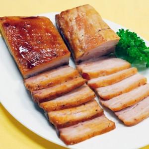炙りバラ焼豚-(左:醤油、右:ねぎ塩)