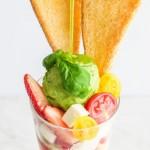 イタリアンと和パフェの出逢い?!<br>オリーブオイルでいただく夏のさっぱりパフェ。